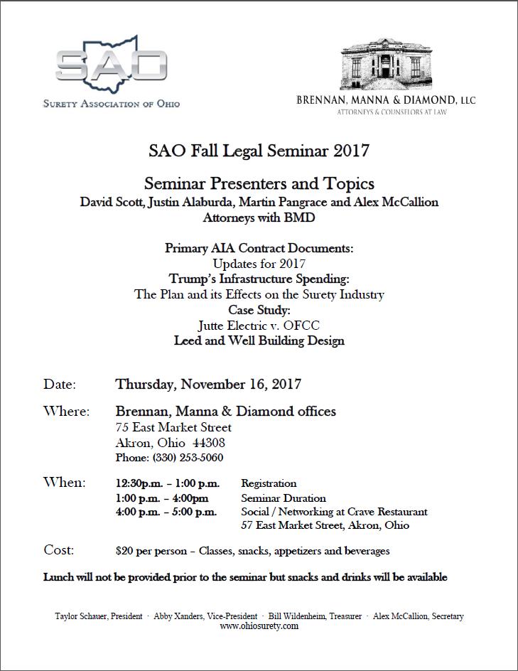 SAO Fall Legal Seminar 2017